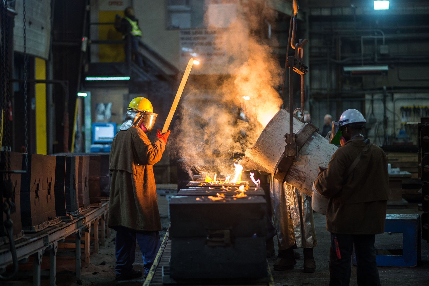 Metal pouring at a foundry