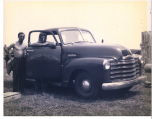 Stan-Hawkins-and-Rosaire-Vaillancourt-With-Canadian-Erectors-Car